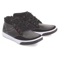 Sepatu Casual Pria Sneakers Shoes Cowok Kets Hitam Kulit Bertali Asli
