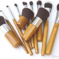 Jual Set kuas brush 11pcs Natural Bamboo Makeup Brushes Foundation Blending Murah