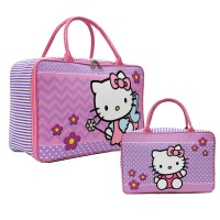 Travel Bag Karakter Hello Kitty Flower Bahan Kanvas - Purple