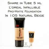 Share In Tube 5ml Loreal Infallible Pro-Matte In 105 Natural Beige