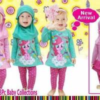 Setelan baju branded kaos panjang & leging anak bayi / jilbab anak