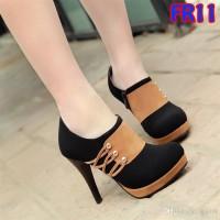 Jual High Heels Fashion 9cm Double Suede Murah Harga Grosir (FR11 Hitam) Murah
