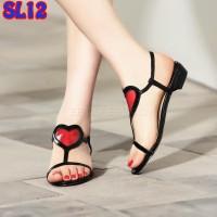 Jual Sandal Teplek Love Heart Mika Murah (SL12 Hitam) Murah
