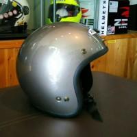 Helm Zeus Z385 Gray Gunmetal Halface Z 385 Retro Bogo Vespa