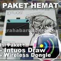 Paket Wacom Intuos Draw Biru Pen Tablet Desain Grafis + Wireless Kit