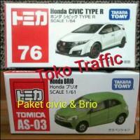 Paket murmer honda civic putih & Honda Brio hijau by tomica