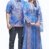 Sarimbit Pasangan Keluarga Gamis Maxi Long Dress Batik 1088 Biru