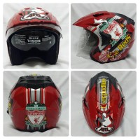 Helm Arl Club Bola Half Face Double Visor Liverpool Merah.