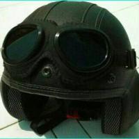harga Helm Retro Pilot Hitam + Kacamata Classic Goggle Tokopedia.com