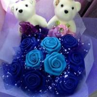 Jual Buket Bunga DIY (9 bunga mawar biru + 2 boneka bear) Murah