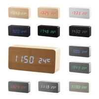 Digital LED clock Wood style