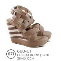 Sandal / Sepatu Wedges Wanita Azzurra ( 660-01 )