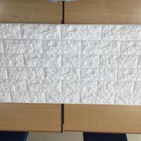 Jual wallpaper foam panel batu bata putih korea, 50 cm x 1 mtr Murah