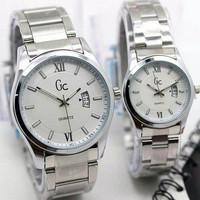 [PRIA] Jam Tangan Couple GC Rantai Tanggal samping *Silver Plate Putih