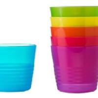 IKEA KALAS Gelas Minum Plastik Anak Cup isi 6 warna war Murah 3101