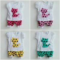 Baju Bayi Setelan Anak Perempuan Kucing Polkadot