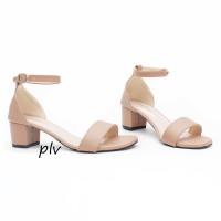 Sepatu Wanita Block High Heels Ankle Strap MA01 Moka