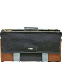 Dompet Authentic FOSSIL Ellis Patchwork Clutch Leather Wallet Original
