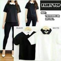 top blouse casual santai simple hitam putih krah polos pendek