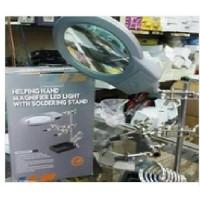 kaca pembesar lup ada lampu ada pegangan pcb ada tempat solder bagus