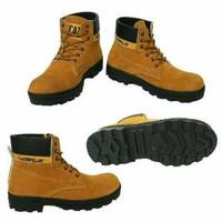 sepatu boot outdoor boots keren caterpillar suede tan kuning club moto