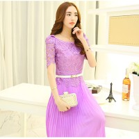 Korean chiffon lace short-sleeved dress - 101964-3