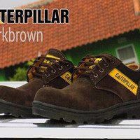 sepatu boot safety casual caterpillar semi boots suede coklat tan outd