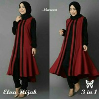 Baju Busana Muslim Setelan Wanita M. Elva Hijab Sett 3in1 Maroon