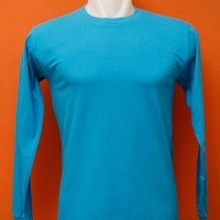 Kaos Polos Biru Turkis Cotton Combed 20's Lengan Panjang Manset L