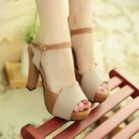 Jual sandal sepatu High Heels Wanita Krem HJ 10 Murah