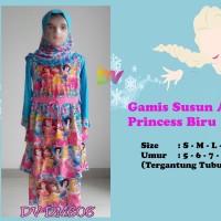 Baju Muslim Gamis Susun Princess Biru Anak 5-9th