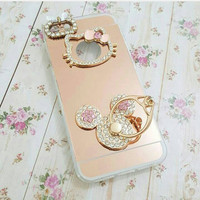 jelly case mirror blink swarovski hello kitty HK iphone 7 plus vivo v5