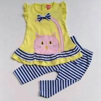 baju setelan bayi anak perempuan/kaos kucing celana leging garis