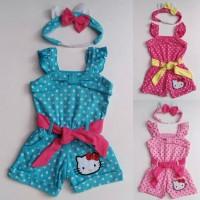 Baju Anak Bayi Perempuan Cewek - Jumpsuit Tank Top Hello Kitty Murah