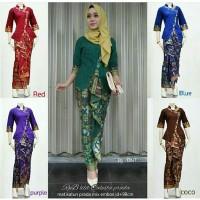 Baju Batik Gamis Hem Cewek Model Kebaya Bahan Prada Embose Rok Lilit