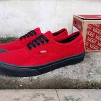 sepatu pria vans authentic original premium red sol black 39-44