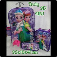 Jual Tas Troli 3D 4in1 Frozen Ungu ( Mudah, Grosir, Tas Trolly Anak ) Murah