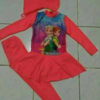baju renang anak muslim frozen orange SD