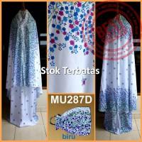 Mukena Bali Bunga Kecil Dasar Putih - MU287D (Biru)