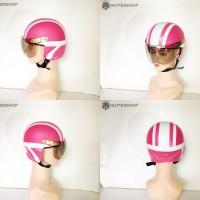 Helm Anak Anak Broco Retro Kaca Lucu Pink Putih Usia 1 - 4 Tahun