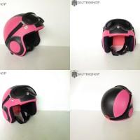 Helm Retro Anak 3 Sampai 5 Tahun Lucu Retro PINK Hitam
