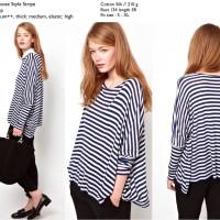 27053 Loose Blue Stripe Blouse / Blouse Garis Biru