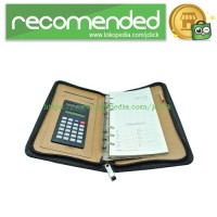 Buku Catatan Binder Note Cover Kulit with Kalkulator - Black