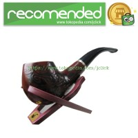 Classic Wooden Enchase Carved Smoking Pipes / Pipa Rokok - Brown