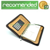 Buku Catatan Binder Note Cover Kulit with Kalkulator - Brown