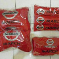bantal mobil NISSAN MARCH 3in1, headrest, seatbelt, cover tisu