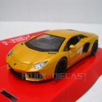 Miniatur Mobil Lamborghini Aventador Kuning - Diecast Welly 1:36