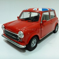 Miniatur Mobil Mini Cooper 1300 Flag Merah - Diecast Welly 1:36
