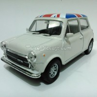 Miniatur Mobil Mini Cooper 1300 Flag Krem - Diecast Welly 1:36