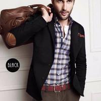 [ReadyStok] Blazer Jas Pria Casual Elbow Patches (blazer cowok,blazer